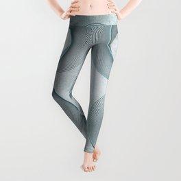 Geometrical Line Art Circle Distressed Teal Leggings