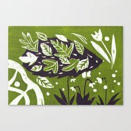Hedgehog in Autumn Woods - Moss Green Palette Canvas Print