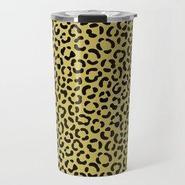 Trendy Black on Faux Gold Leopard Print Pattern Travel Mug