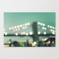 New York, Brooklyn bridge magical lights Canvas Print