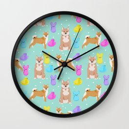 Shiba Inu dog breed peeps marshmallow easter spring dog pattern gifts Shiba Inus Wall Clock