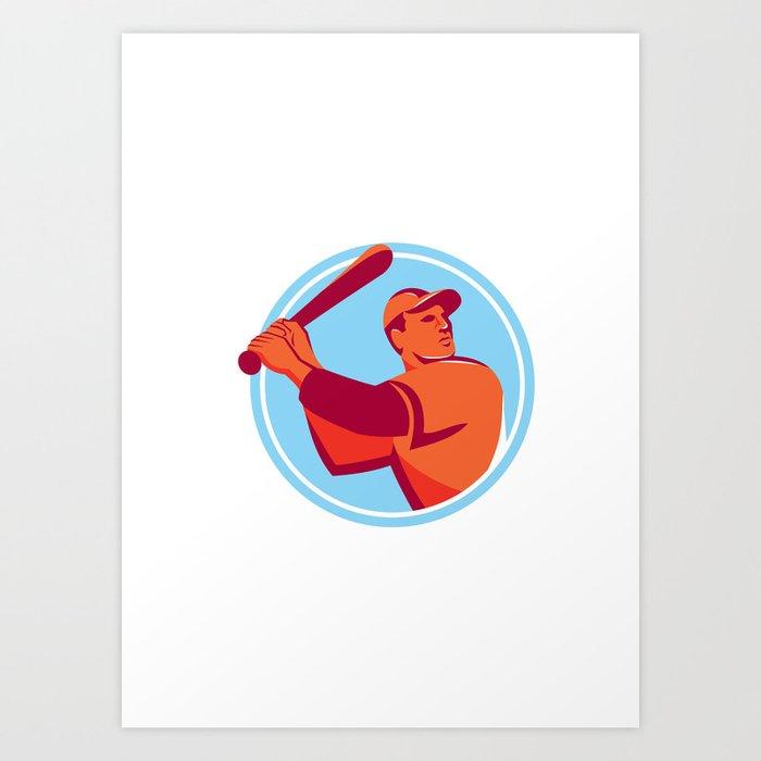 Baseball Batter Batting Bat Circle Retro Art Print