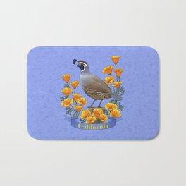 California State Bird Quail and Golden Poppy Bath Mat