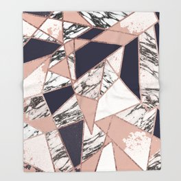 Geometric Navy Blue Peach Marble Rose Gold Triangle Throw Blanket