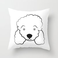 poodle Throw Pillows featuring Poodle by anabelledubois