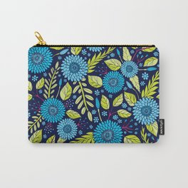 Turquoise Blue, Lime Green, Magenta & Navy Floral Pattern Carry-All Pouch