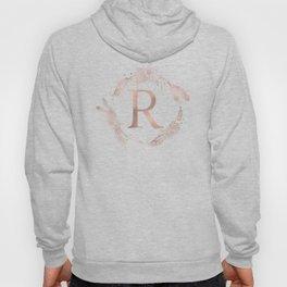 Letter R Rose Gold Pink Initial Monogram Hoody