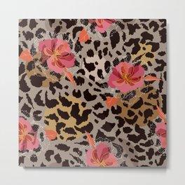 Blooming flower on animal skin Metal Print