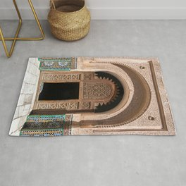 Ornate Archway Door in Marrakech, Morocco - Cream, White, Teal, Turquoise Mosaic Islamic Muslim Temple Architecture Doorway Door Arch Unique Entrance Rug