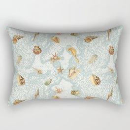 Map with Sea Shells Rectangular Pillow