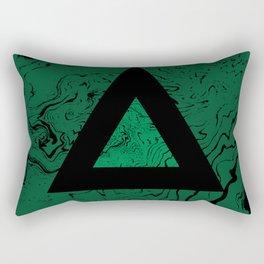 Spilled ink suminagashi malachite green marble stone watercolor marbling triangle minimalism Rectangular Pillow