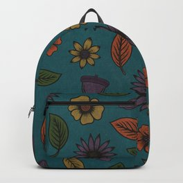 Fall Floral Pattern (TEAL) Backpack