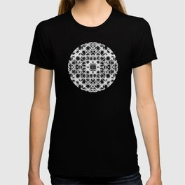 Shibori black stripes crosses T-shirt