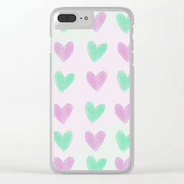 Pastel hearts pattern Clear iPhone Case