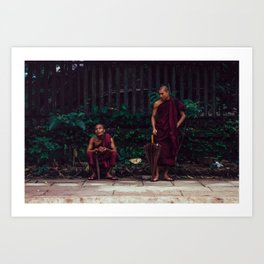 Yangon, Myanmar – Monks Waiting for the Train Art Print