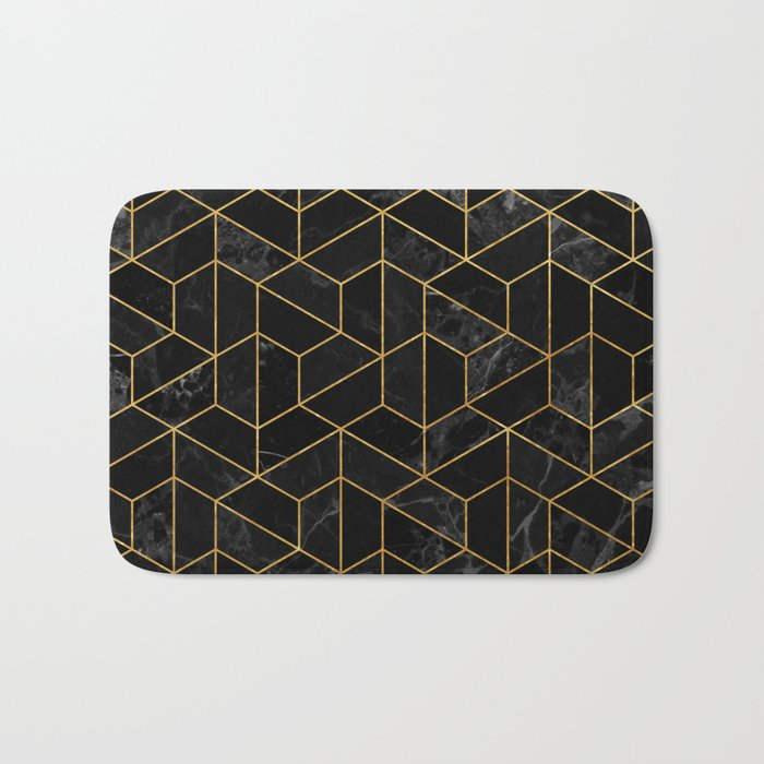 Black Marble Hexagonal Pattern Bath Mat
