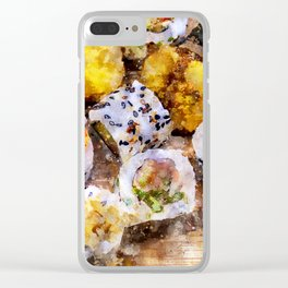 Sushi board - watercolor Clear iPhone Case