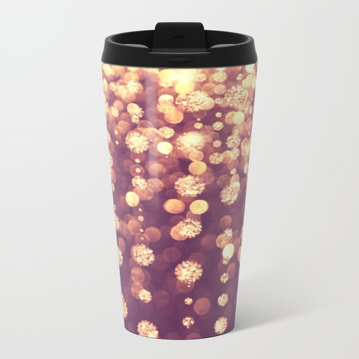 Dazzling Rose Gold Metal Travel Mug