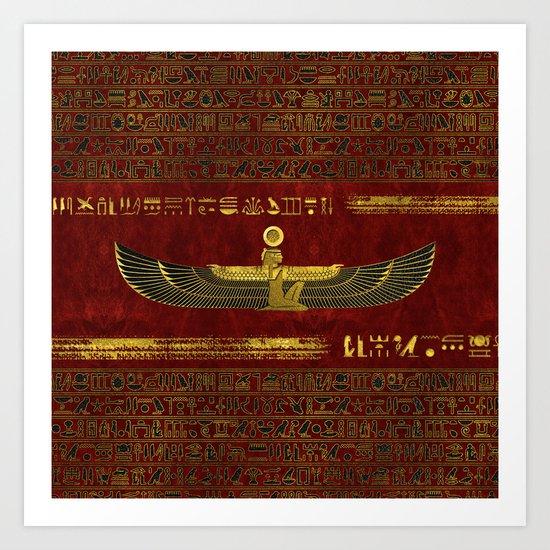Golden Egyptian God Ornament on red leather by k9printart