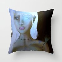 robot Throw Pillows featuring Robot by Amy Bannister