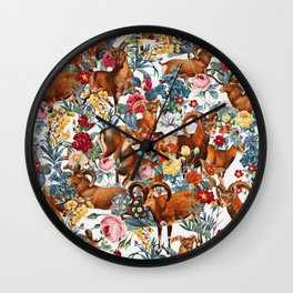 Capra Cylindricornis and Floral Pattern Wall Clock