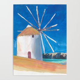 Mykonos Greece Windmill, Sea and Little Venice Poster
