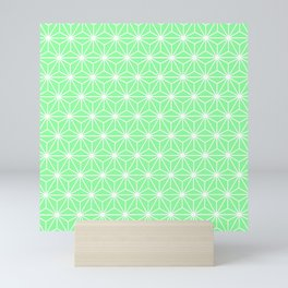 Pastel Green Geometric Isosceles Triangle Pattern Mini Art Print