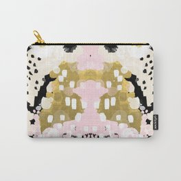 Simone - abstract painting gold foil trendy hipster pastel pink modern trendy colors decor college Carry-All Pouch
