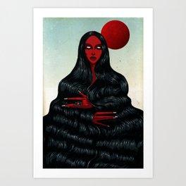 Long Black Hair. Art Print