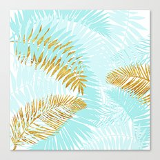 Aloha- Tropical Palm Leaves and Gold Metal Foil Leaf Garden Canvas Print