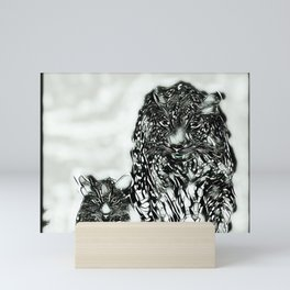 Big Cat Models: Magnified Snow Leopard and Cub 01-04 Mini Art Print