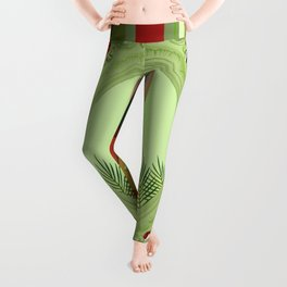 Bunny in green frame with geometric background stripes Leggings
