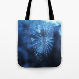 Spider Web in Blue Tote Bag