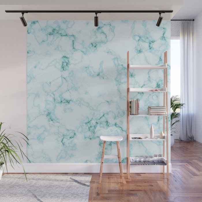 Aqua marine and white faux marble Wall Mural