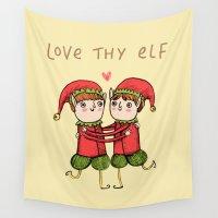 elf Wall Tapestries featuring Love Thy Elf by Sophie Corrigan