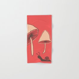Mushroom and the Disappearing Snail! #Nature #Illustration Hand & Bath Towel