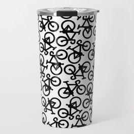 Black Bikes Pattern Travel Mug
