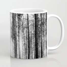 trees in forest landscape - black and white nature photography Coffee Mug