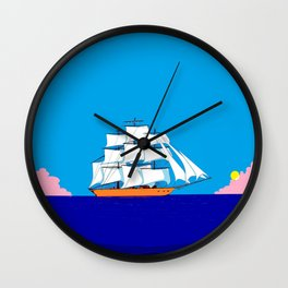 A Clipper Ship at Sunset, Pink clouds and Sun, Nautical Scene Wall Clock