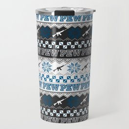 Pew Pew Gun Ugly Christmas Sweater Pattern Travel Mug