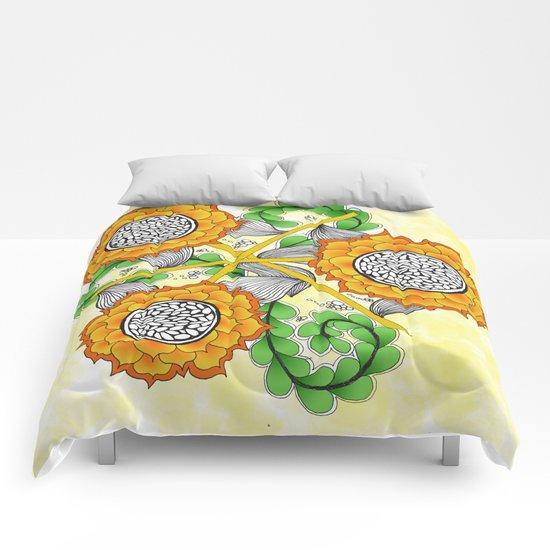 Zentangle Happy Yellow and Orange Sunflowers Comforters