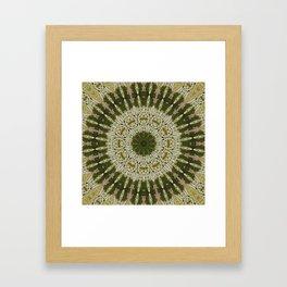 Tree Trunk Green and White Framed Art Print