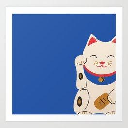 Blue Lucky Cat Maneki Neko Art Print