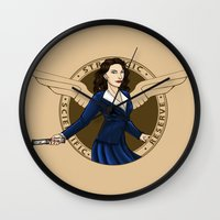 agent carter Wall Clocks featuring Agent Carter by Arania