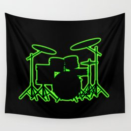 Neon Drum Kit Wall Tapestry