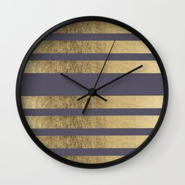 Elegant mauve purple faux gold stripes pattern Wall Clock