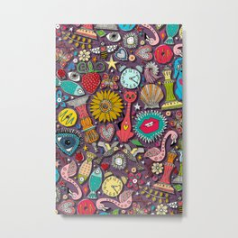 kitsch scatter plum Metal Print