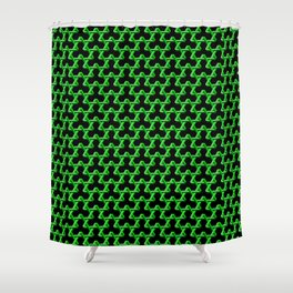 Impossible Green Triangles Shower Curtain