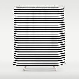 Stripped horizontal black and white pattern Shower Curtain