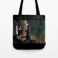 ed sheeran Tote Bags featuring Dredd[ed] by Mel Hampson